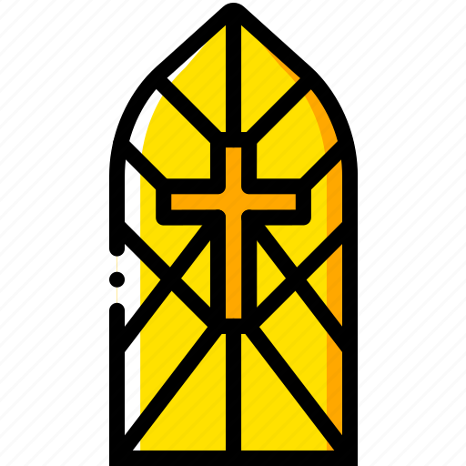 cathedral, pray, religion, window, yellow icon