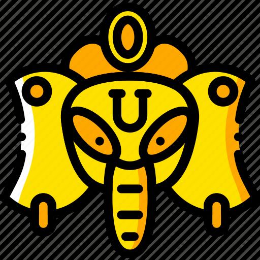 ganeesh, pray, religion, yellow icon