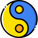 pray, religion, taoism, yellow icon