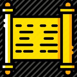 holy, pray, religion, scripture, yellow icon