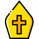 crown, papal, pray, religion, yellow icon