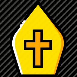 crown, papal, pray, religion, yellow icon
