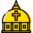 dome, pray, religion, vatican, yellow icon