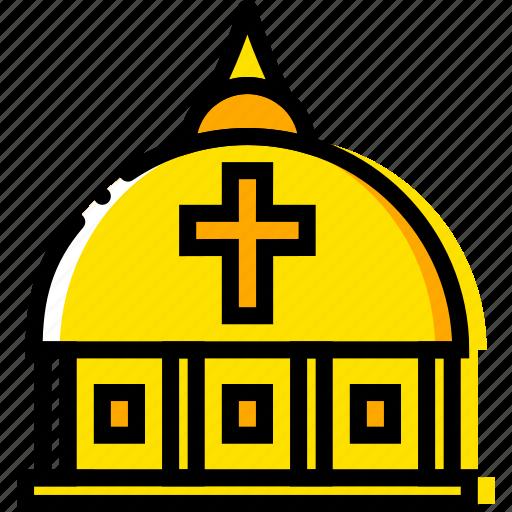 dome, pray, religion, vatican, yellow icon