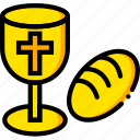 holy, pray, religion, rite, yellow icon