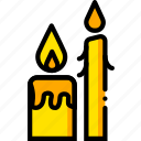 candles, pray, religion, yellow icon