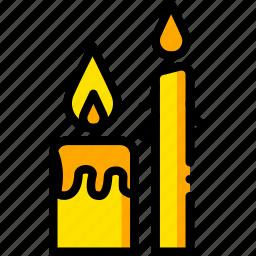 candles, pray, religion, yellow icon