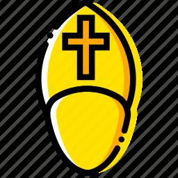 pope, pray, religion, the, yellow icon