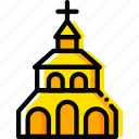 church, pray, religion, yellow icon