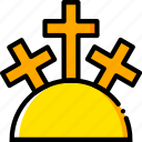 holy, mountain, pray, religion, yellow icon
