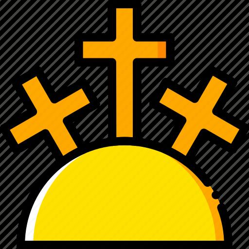 holy, mountain, pray, religion, yellow icon