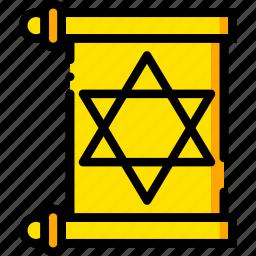 pray, religion, torah, yellow icon
