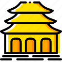 buddhist, pray, religion, temple, yellow icon