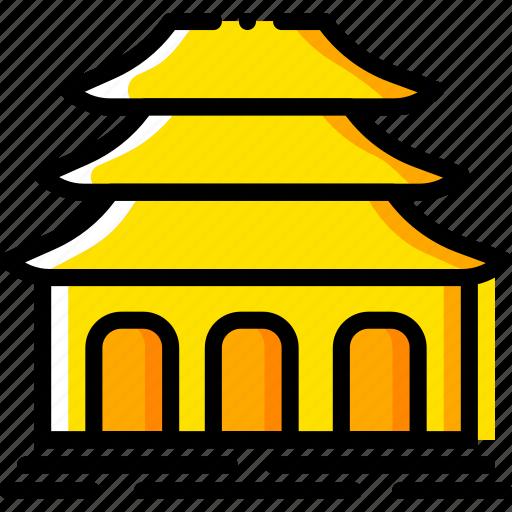 buddhist, pray, religion, temple, yellow icon