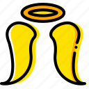 angel, pray, religion, yellow icon