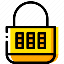 combination, lock, safe, safety, security, yellow icon