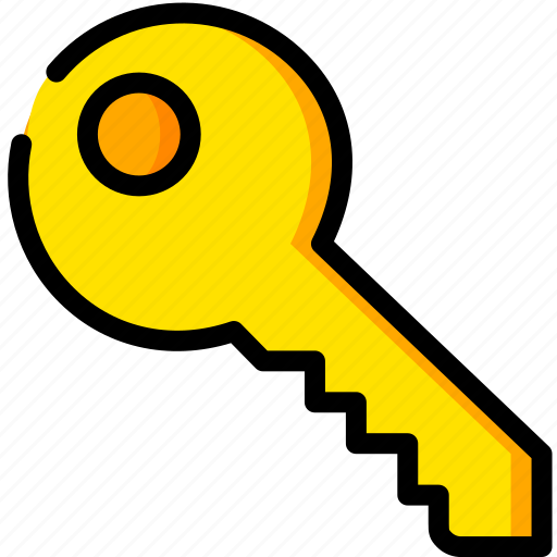 key, safe, safety, security, yellow icon