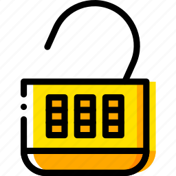 combination, lock, open, safe, safety, security, yellow icon
