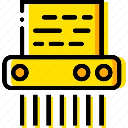 paper, safe, safety, security, shredder, yellow icon