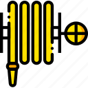 fire, hose, safe, safety, security, yellow icon