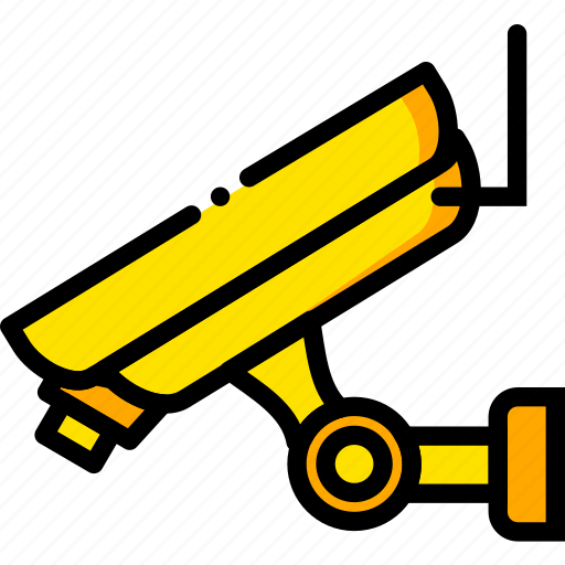 camera, remote, safe, safety, security, yellow icon