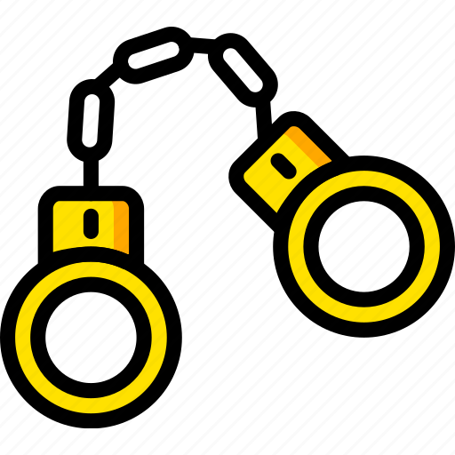 handcuffs, safe, safety, security, yellow icon