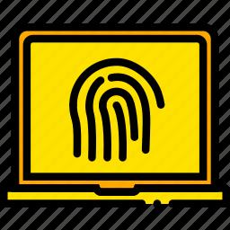 encryption, fingerprint, safe, safety, security, yellow icon