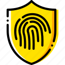 antivirus, encryption, fingerprint, safe, safety, security, yellow icon