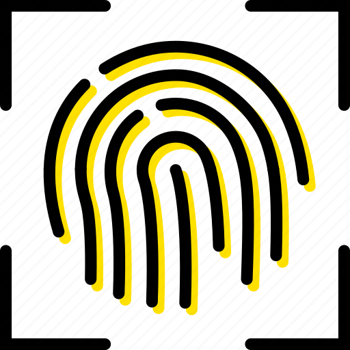 fingerprint, recognition, safe, safety, security, yellow icon