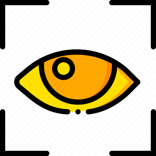 recognition, retina, safe, safety, security, yellow icon