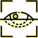 retina, safe, safety, scan, security, yellow icon