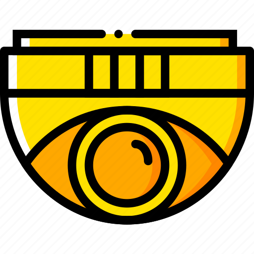 camera, dome, safe, safety, security, yellow icon