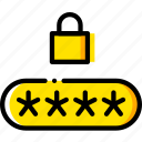 code, pin, safe, safety, security, yellow