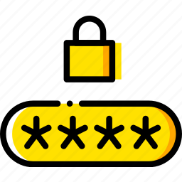 code, pin, safe, safety, security, yellow icon