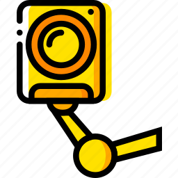 camera, indoor, safe, safety, security, yellow icon