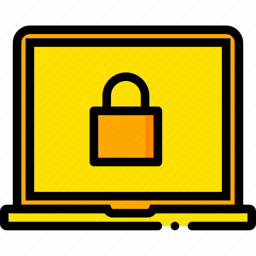 encryption, laptop, safe, safety, security, yellow icon