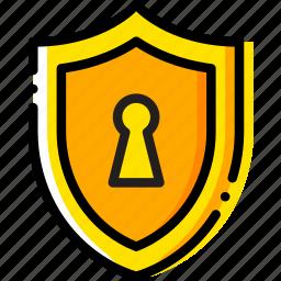 antivirus, encryption, safe, safety, security, yellow icon