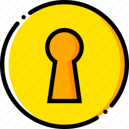 keyhole, safe, safety, security, yellow icon