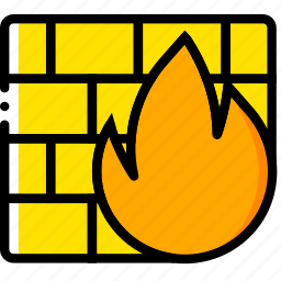 firewall, safe, safety, security, yellow icon