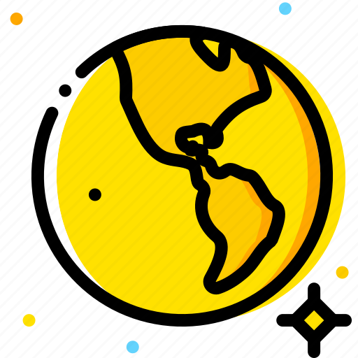 earth, space, universe, yellow icon