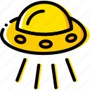 space, ufo, universe, yellow icon
