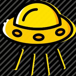 space, ufo, universe, yellow icon