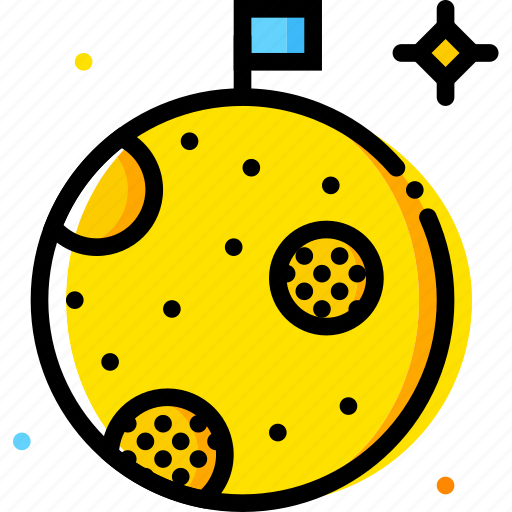 moon, space, universe, yellow icon