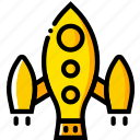 soyuz, space, universe, yellow icon