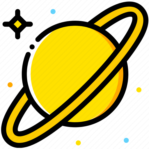 saturn, space, universe, yellow icon