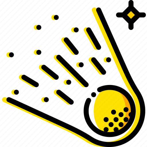 comet, space, universe, yellow icon