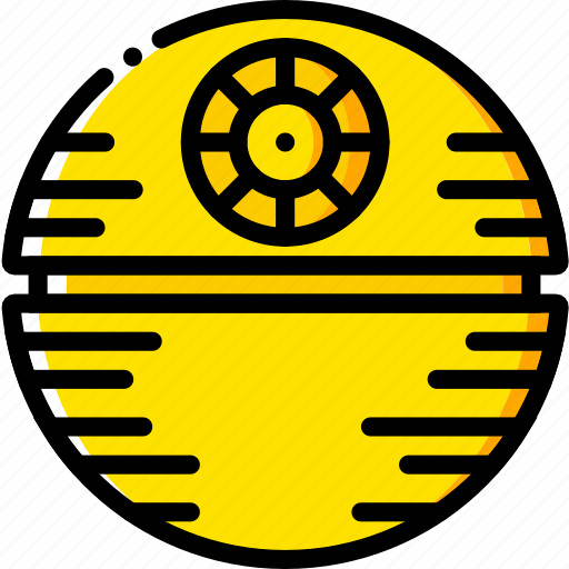 death, space, star, universe, yellow icon