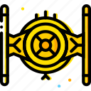 fighter, space, tie, universe, yellow icon