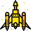 fighting, space, spaceship, universe, yellow icon