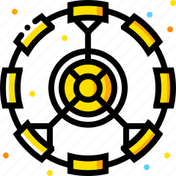artificial, gravity, module, space, universe, yellow icon